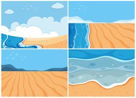 Vier achtergrondscènes van oceaan