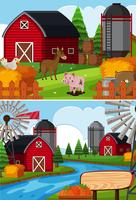 Two farm scenes with animals and barns