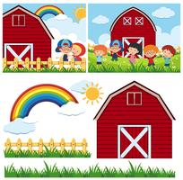Duas cenas de fazenda com celeiro vermelho e crianças felizes