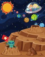 Raumszene mit den Kindern, die in Raumschiff fahren