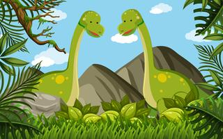 Two brachiosaurus in the field