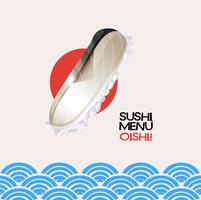 Sushi menu on poster with ocean background