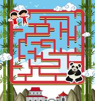 Maze game template with panda and kids