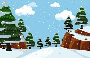 Escena de paisaje de naturaleza de nevadas vector