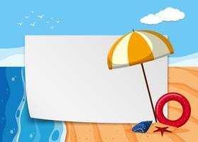 Plantilla de papel con vista al mar en el fondo vector