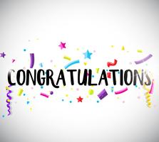 Congratulations card template with ribbons