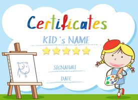 Certificate template with girl painting