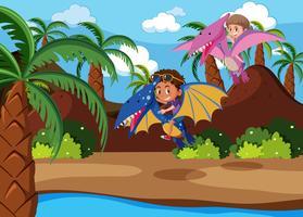 Enfants chevauchant une scène de dinosaure