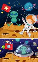 Two space scenes with aliens and astronaut