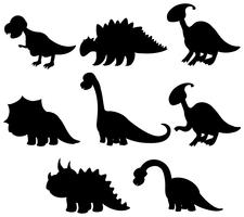 Ensemble de collection de dinosaures silhouette