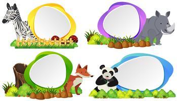 Fyra runda märken med vilda djur