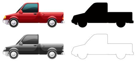 Set of truck on white background