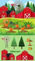 Farm scene with red barns and carrot garden
