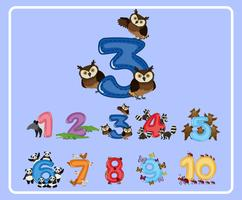 Counting number three with owls