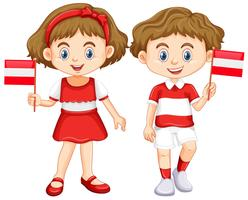 Boy and girl with Austria flag
