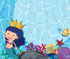 Escena submarina con sirena y pez.