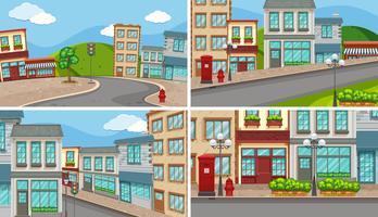 Cuatro escenas de la ciudad con muchos edificios y caminos vacíos.
