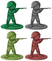 Plast soldatleksaker i fyra färger
