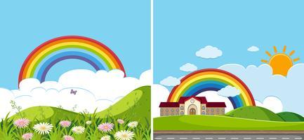 Due scene di sfondo con arcobaleno