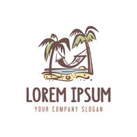 Sommerferien-Logo. Retro-Stil-Design-Konzept-Vorlage