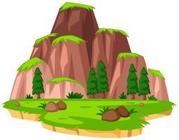 Escena con montañas en la isla