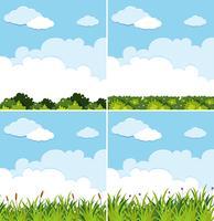 Vier achtergrondscènes met blauwe hemel en groen gras