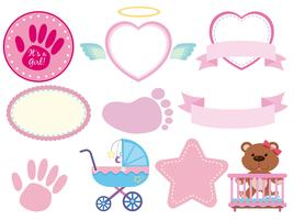 Set of pink baby sticker vector