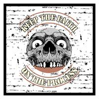 grunge style vintage skull and text keep faith hand drawing vector