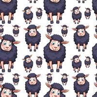 Seamless background design with black sheeps