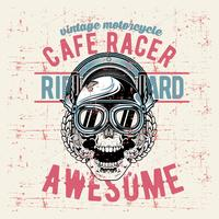 grunge style vintage skull cafe racer hand drawing vector