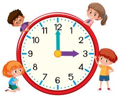 Children and clock on white bankground