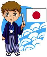 Japansk pojke med flagga