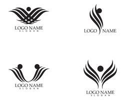 Flügel schwarz Zeichen abstrakte Vorlage Symbole App