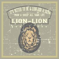 vintage grunge style lion with quote hand drawing vector