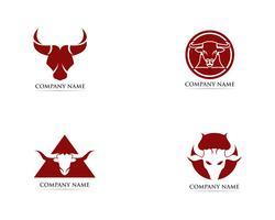 Plantilla de logotipo y símbolos de cuerno de toro