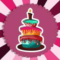 Verjaardagskaart met cake. Platte vectorillustratie