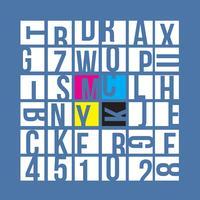 Concepto de tipografía CMYK