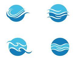 Vattenvågsymbol och ikon Logotypmall
