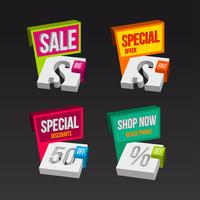 Colorful 3D sales badges concepts