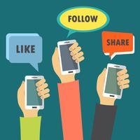 Concetto di applicazioni mobili. Mani che tengono i telefoni. Segni con azioni sociali