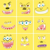 Set of yellow monster faces  vector