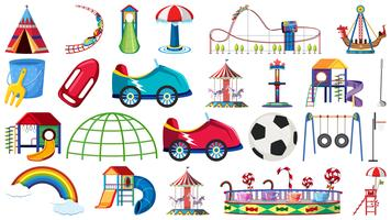 Set of amusement park ride vector