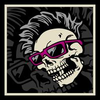 Hipster skull with hairstyle, mustache and beard. Vintage label.Prints design for t-shirts