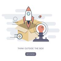 Think outside the box business concept