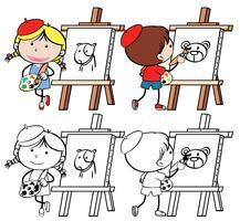 Set of doodle artist character