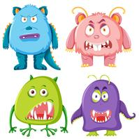 Set of scary monster vector