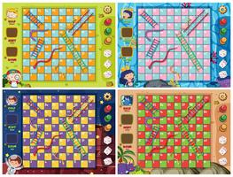 Set van snake ladder game sjabloon