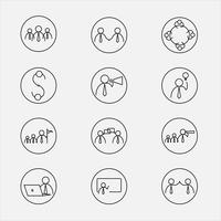 Vector illustration of line icons for business  activity.