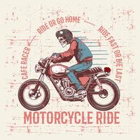 vintage grunge style skull wearing helmet and text cafe racer hand drawing vector