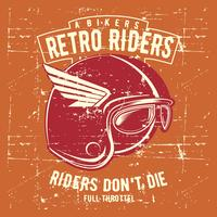 vintage grunge style helmet retro rider with text vector